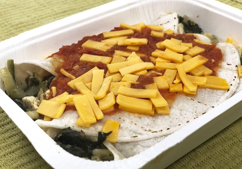 Tortilla spenat och kyckling vegan-glutenfri